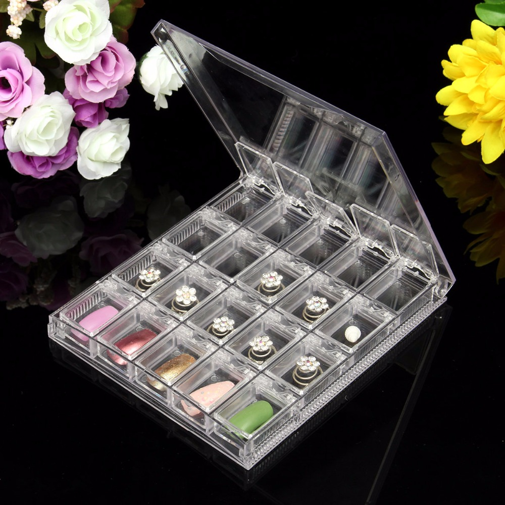 Transparent Acrylic Cosmetic Storage Portable Jewelry Nail Tips Case