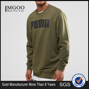 MGOO New Arrival 80 Cotton 20 Polyester Longline Sweat In Khaki Oversized Running Sweatshirts