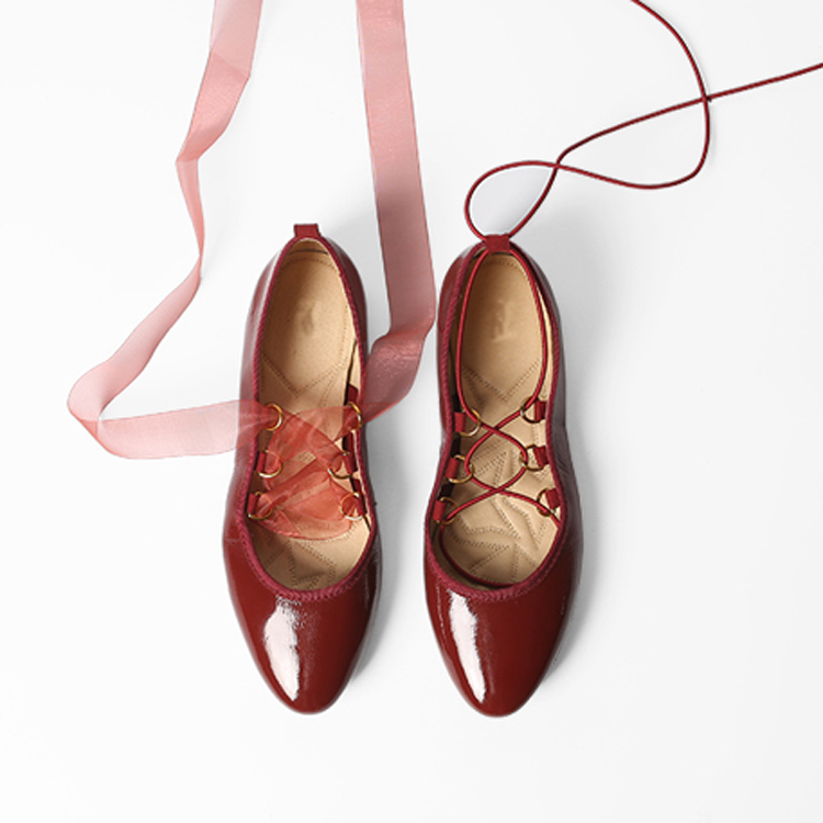 Ladies flat ballerina lace wine shiny ballet soft shoes flats OEM leather silk flat shoes BBqg7wUr