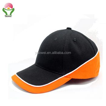 newest Fashion Custom cotton twill blank black and orange hat Sport  Cap Fitted Baseball 225187bfb65