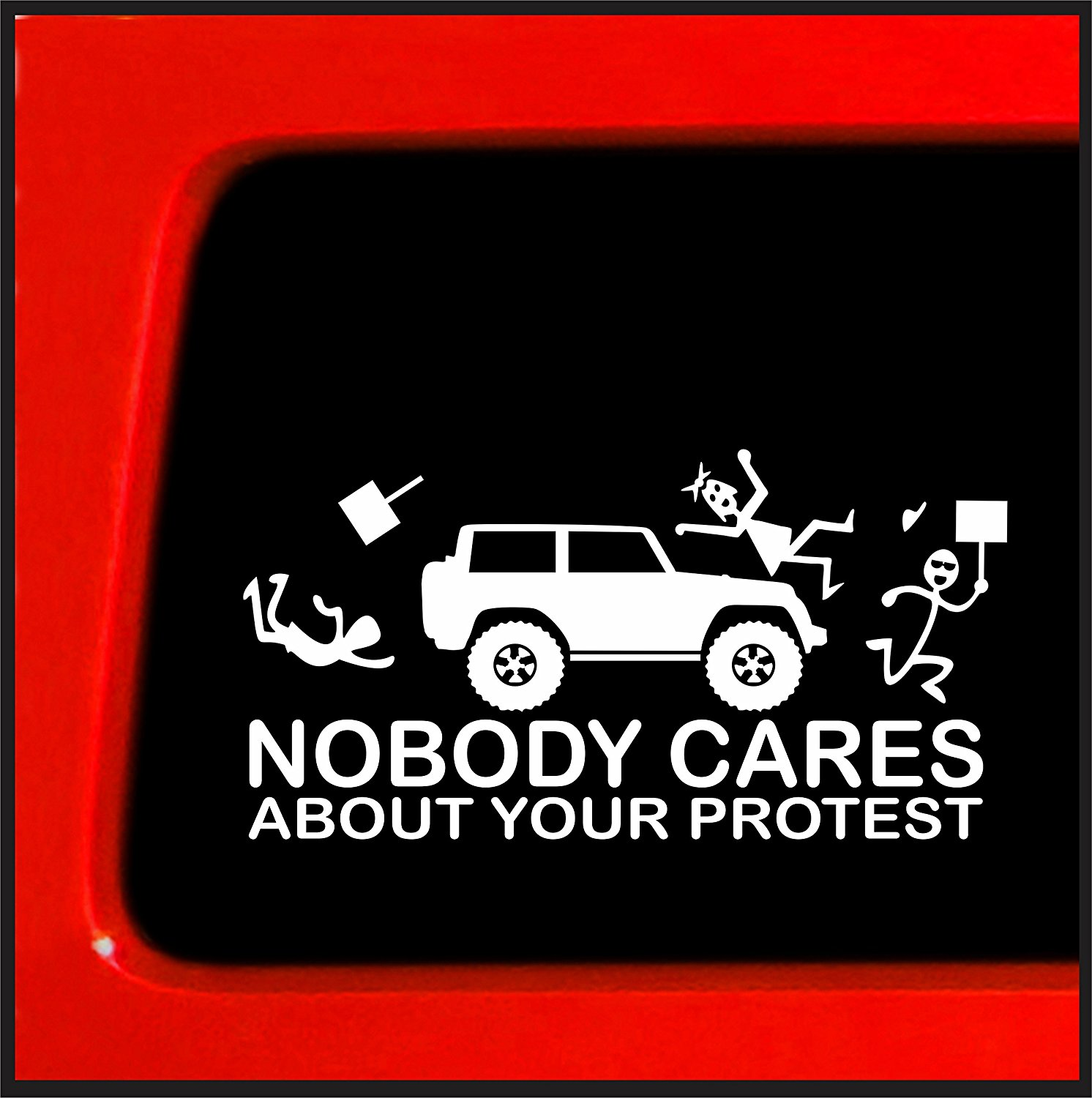 Get Quotations · Stick Figure Family Nobody Cares about your protest funny  sticker for Jeep funny truck white decal