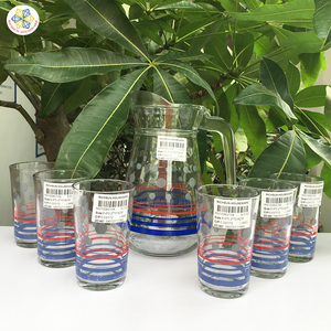 beautiful drinking glass set with printing / 1.3 L glass jug with lid and 6 pcs 8 OZ tumblers