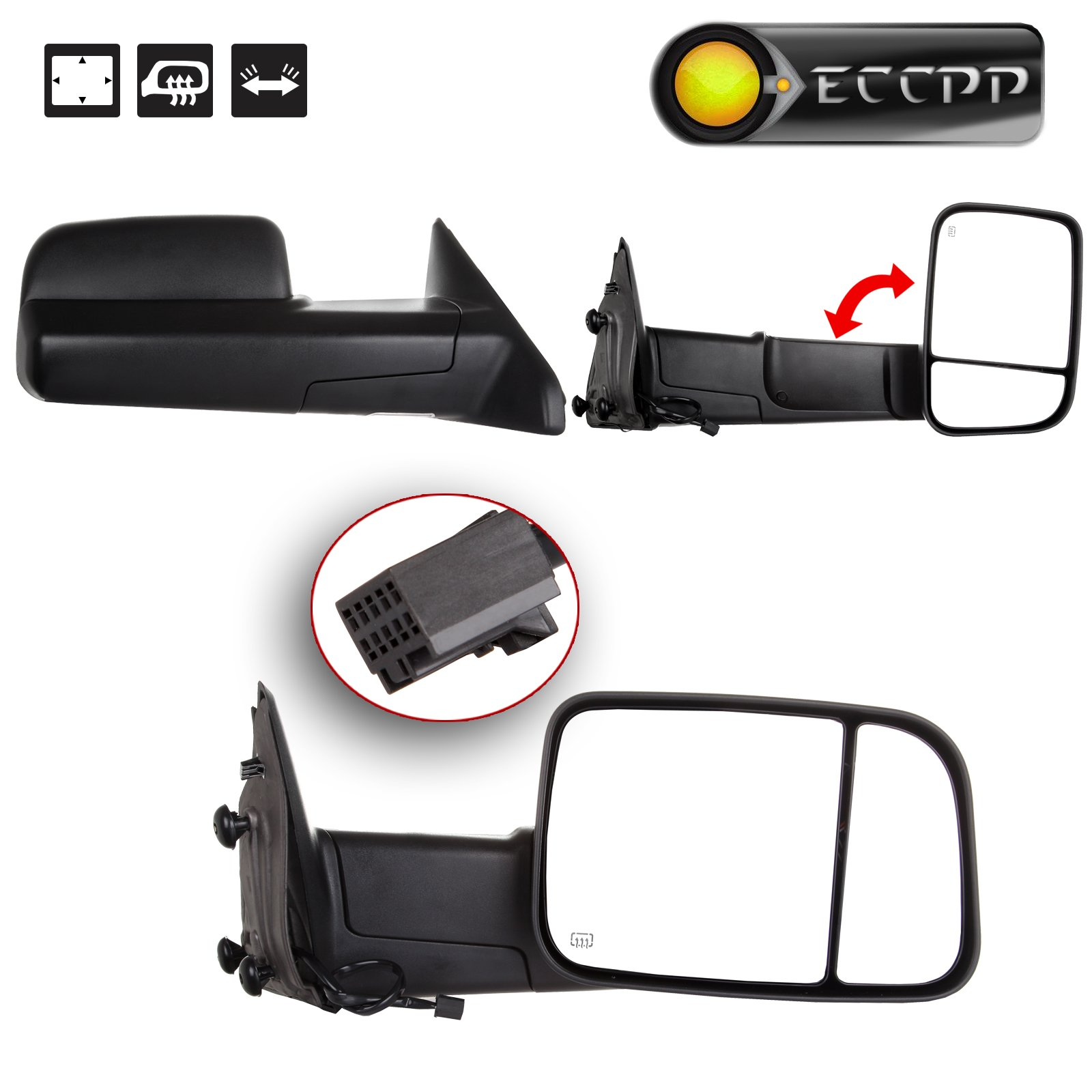 ECCPP Towing Mirrors for 2009-15 Ram 1500 Pickup Side View Power Heated Towing Manual Flip Up Black Mirrors