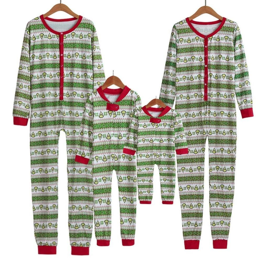 FORESTIME Xmas Kid Baby Boy Girl Hood Romper Jumpsuit Family Floral Pajamas Sleepwear Christmas Outfit