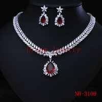 Clear White Wedding Jewellery Sets Crystal Bridal Earrings Necklace sets Promotion Factory price costume jewelry