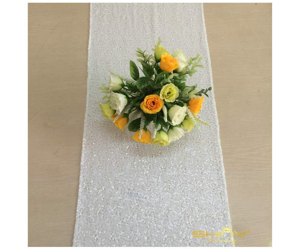 12x120-Inch White Sequin Table Runner for Christmas/Thanks Giving Day