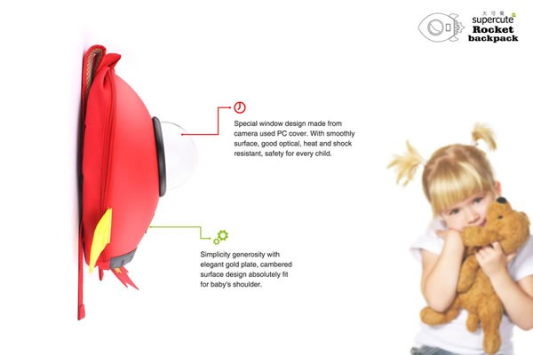 EVA hard rocket shape backpack for child