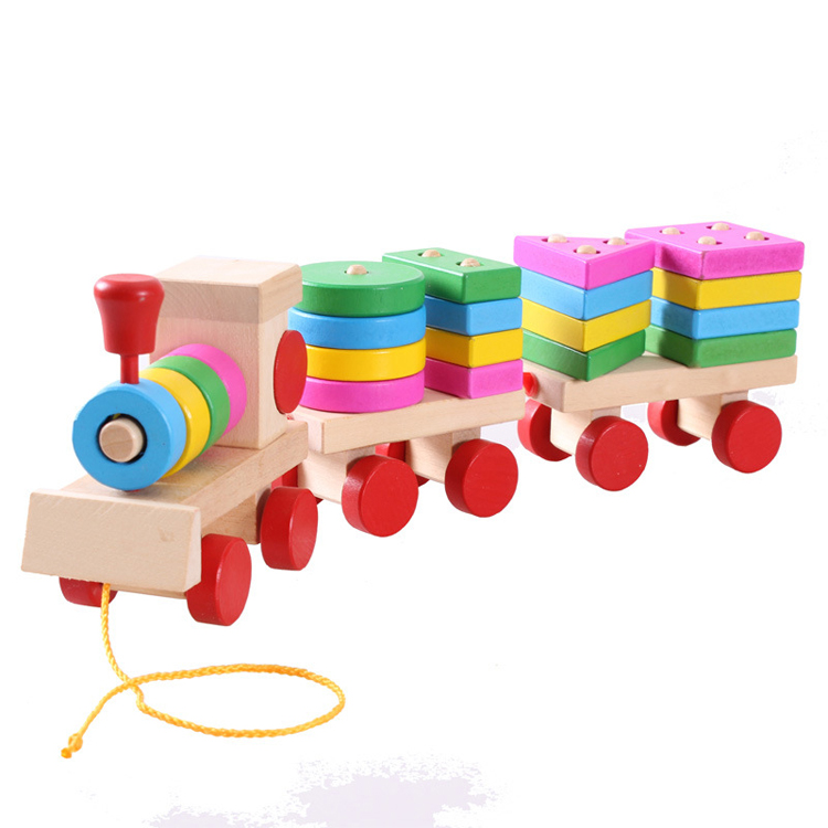 Alibaba best selling different shapes wooden toy train set for children