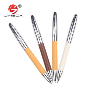 Fashion company gift Metal ballpoint pens PU leather marking leather metal pen for vip client