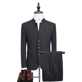 Top Brand Chinese Stylish Coat Pant Suit Men's Design Formal Business Tunic Suits