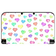 Love Hearts Pattern Background Red Purple Green Yellow Blue Pink New 3DS XL 2015 Vinyl Decal Sticker Skin by Moonlight Printing