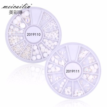 2 Styles Wheel Mixed White/AB Pearl for Nail Art Decal
