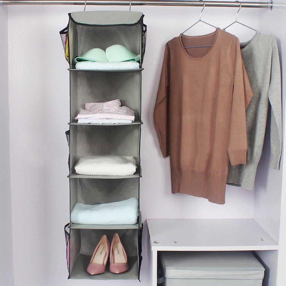 Get Quotations · TABITORA Hanging Clothes Storage Box (5 Shelving Units)  Durable Accessory Closet Cubby Sweater Handbag