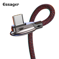 Essager 90 Degree 3A USBC Type-C Cable Fast Charging Data Wire Cord for Xiaomi mix 3 Oneplus 6t