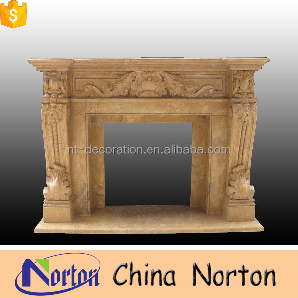 High efficiency and quality Henan yellow marble outdoor fireplace NTMF-F071L
