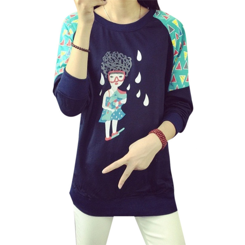 Women's Cartoon Girls Printed Sweatshirt Autumn Full Sleeve Character Print Cute Loose Hoodies Sweatshirt Plus Size