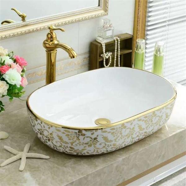 Mode Sanitarkeramik Keramik Gold Waschbecken Fur Badezimmer Buy