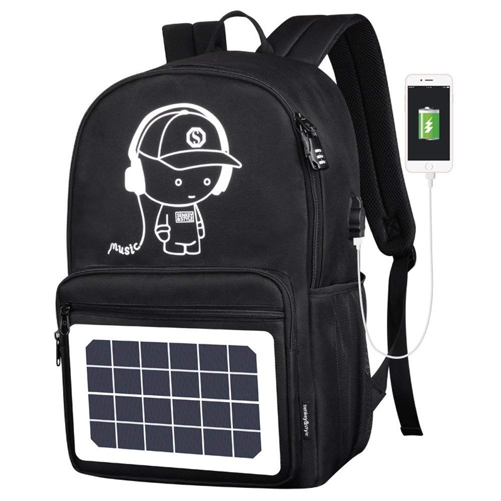 GDSZ USB Solar Charge Backpack For Teenager School Bag 15.6 Inch Fashion Waterproof High Capacity Men Travel Backpack