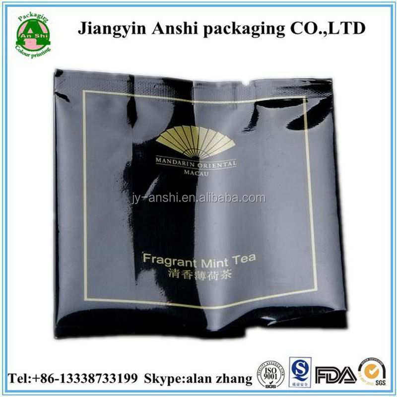 3 side seal small aluminum foil pouch for fragrant mint tea packaging