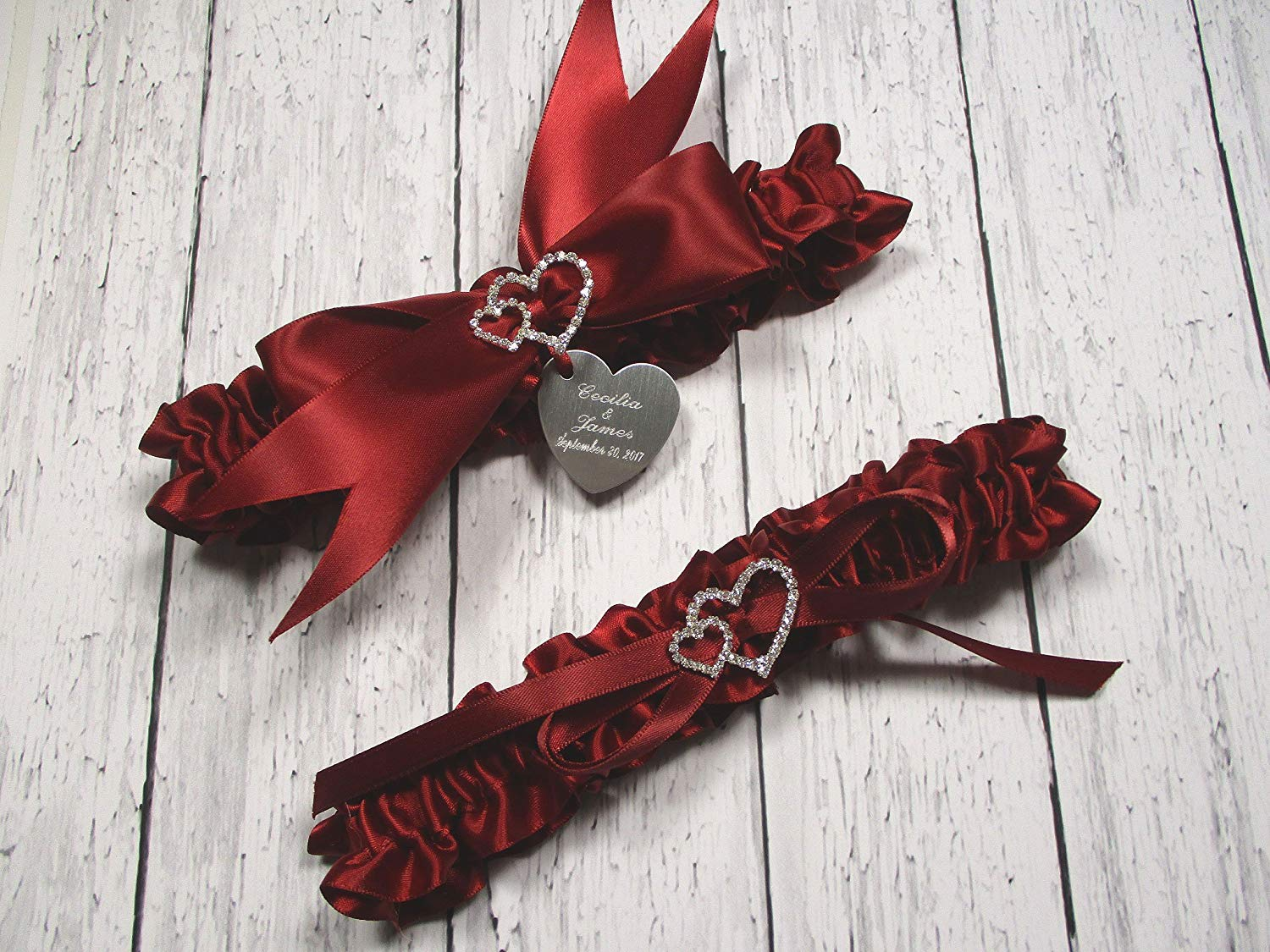 Red Wedding Garter Set in Satin with Linked Hearts and Personalized Engraving