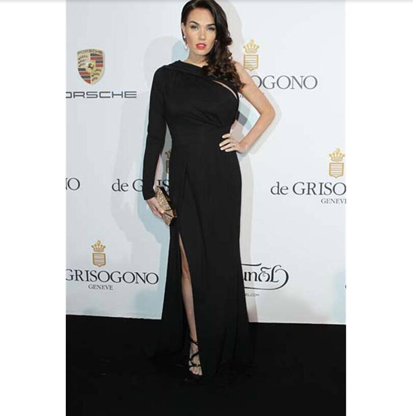 052514d4af25 Get Quotations · One Shoulder One Sleeve Keyhole Side Slit Black Long  Celebrity Evening Dresses Tamara Ecclestone