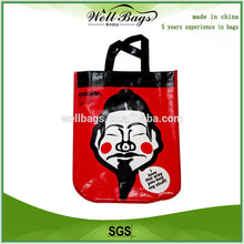 promotional cute film lamination pp woven shopping bag