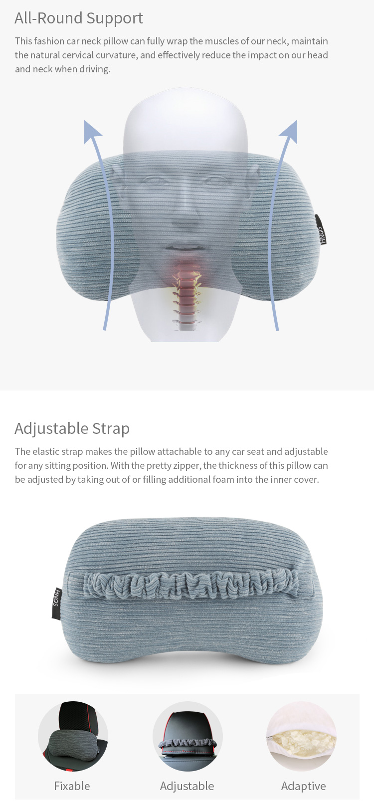 All-Round Support And Adjustable Strap Shredded Car Headrest Pillow Memory Foam Decorative Pillow For Driver