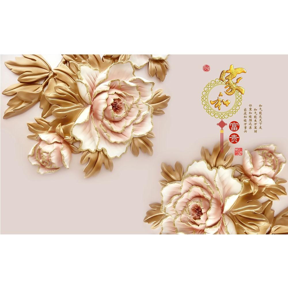 3D Custom Murals Wallpaper Texture Flower Chinese Painting Price Wall