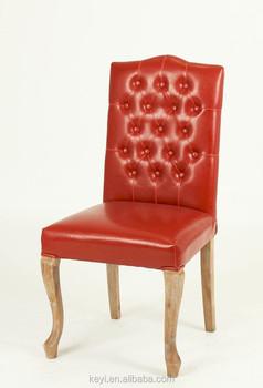 Conception de bouton carré haut dossier chaise en bois classique chaise en  cuir rouge ( 729fa360357b