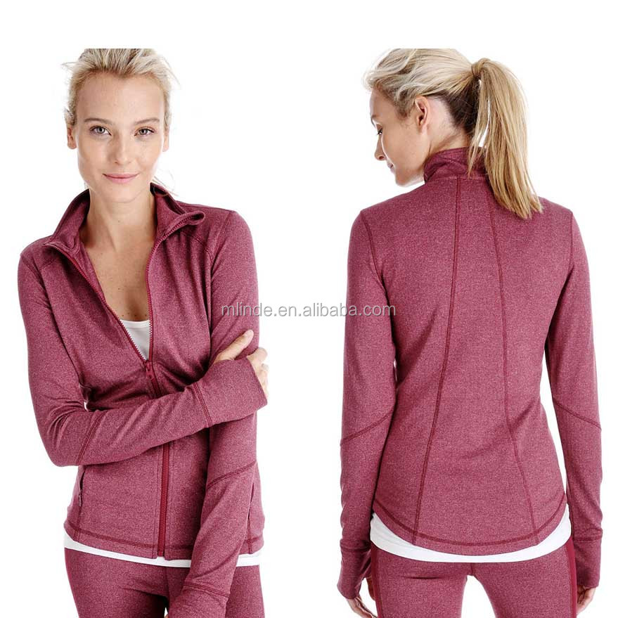 Women Sport Clothes Women's Stretch Running Workout Yoga Full Zip Football Hiking Blazer Jacket With Thumb Holes