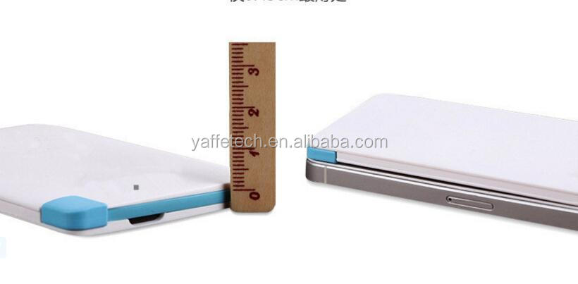 Ultra thin credit card portable power bank 2600mah with customized logo accepted