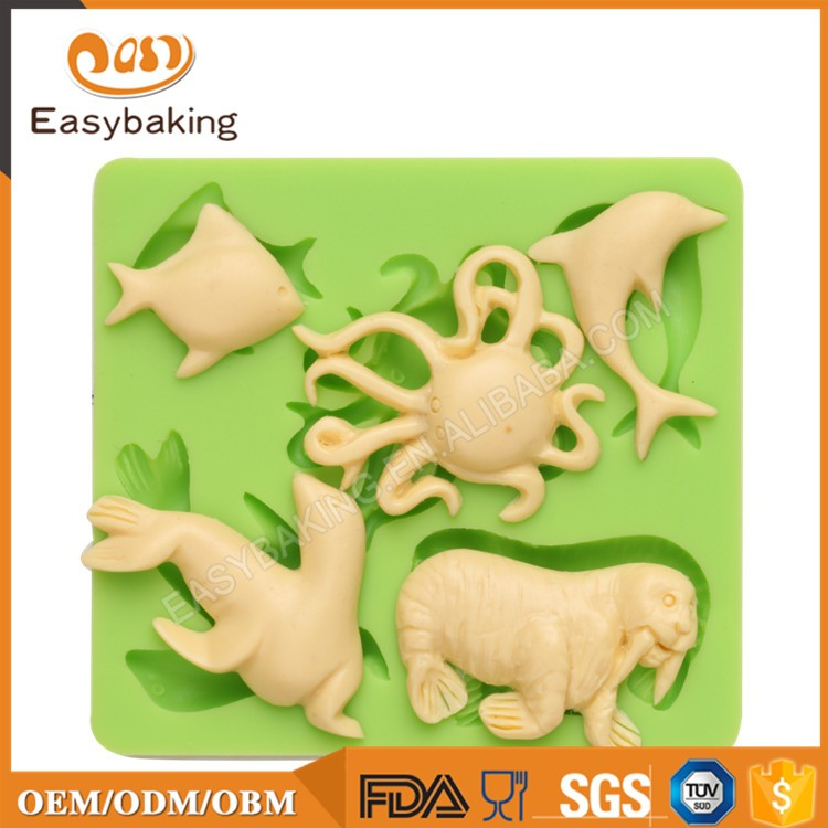 ES-0412 Ocean Animal Series Silicone Molds Fondant Mould for cake decorating
