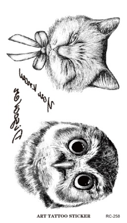 RC2258 Disposable 3d Waterproof Tattoo Sticker Paiting Brush Drawing Owl Letter Design Large Temporary Tattoo Stickers