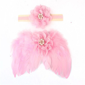 Cheap Hot and Top Sale Baby Girls Flowers Headband +Kids Pink Angel Wings