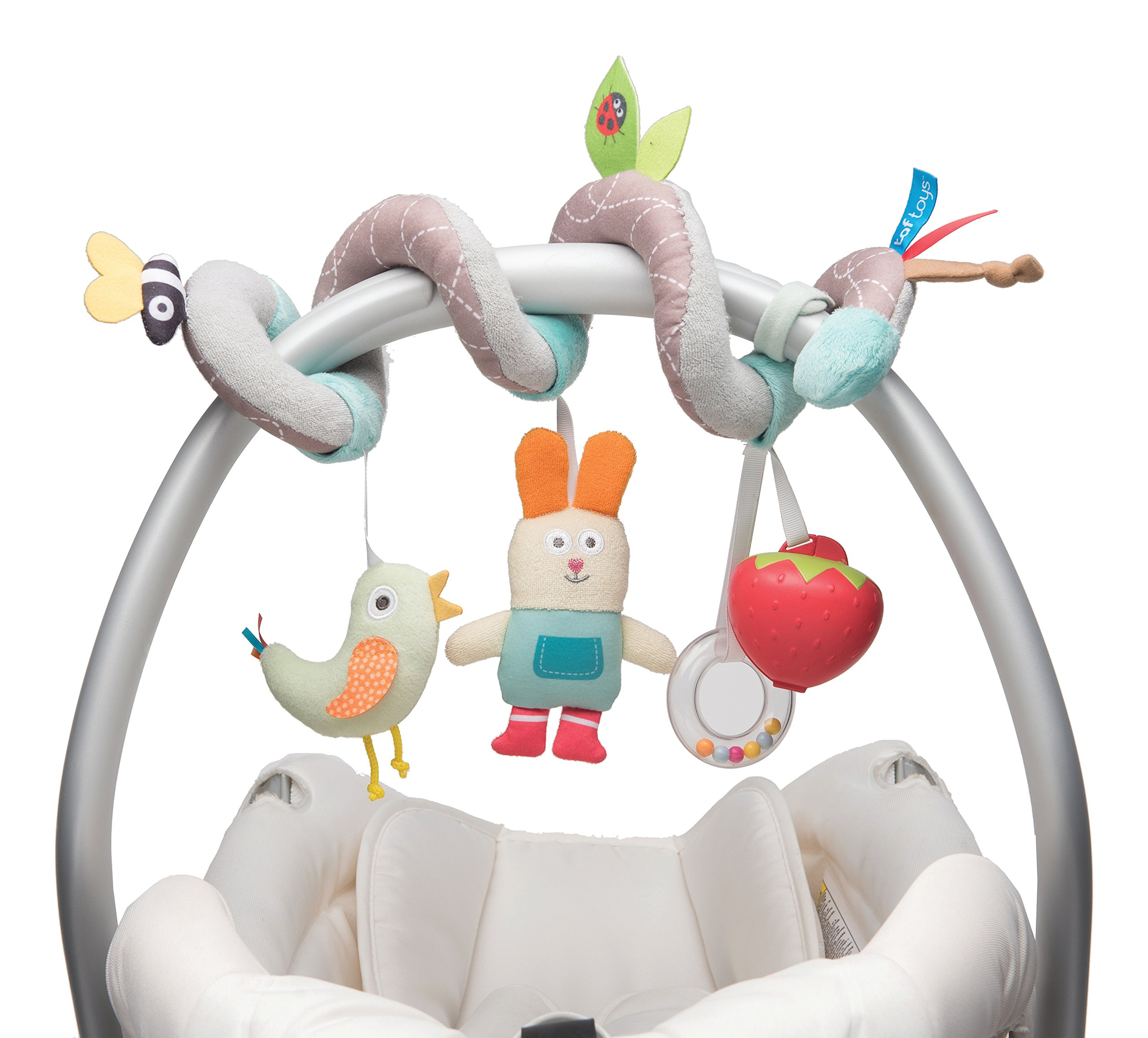Taf Toys Garden Spiral | Baby's Fun Accessory For Car Seat & Pram Etc. , Hanging Rattling Toys, Easier Parenting, Keeps Your Baby Happy, Ideal Gift, Soother Strawberry Shape Case, For Easier Outdoors