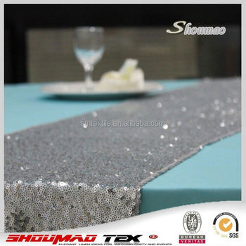 Silver Color Wedding Table Runners For Round Tables