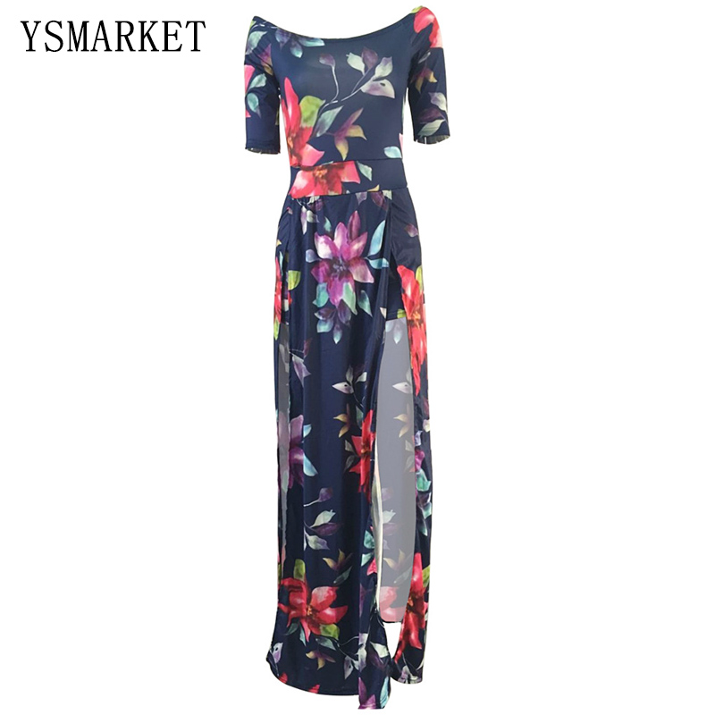 1cb55efb6bc0 Plus Size Floral Print Off Shoulder Maxi Dress Women Sexy Slash Neck  Bodycon M-3XL Party Club High Split Jumpsuit Dress E3074