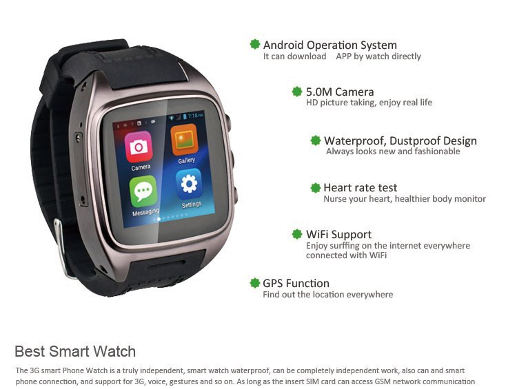 3g+gsm+gps+ Sim Card Smart Watch Phone,Waterproof Watch Phone ...