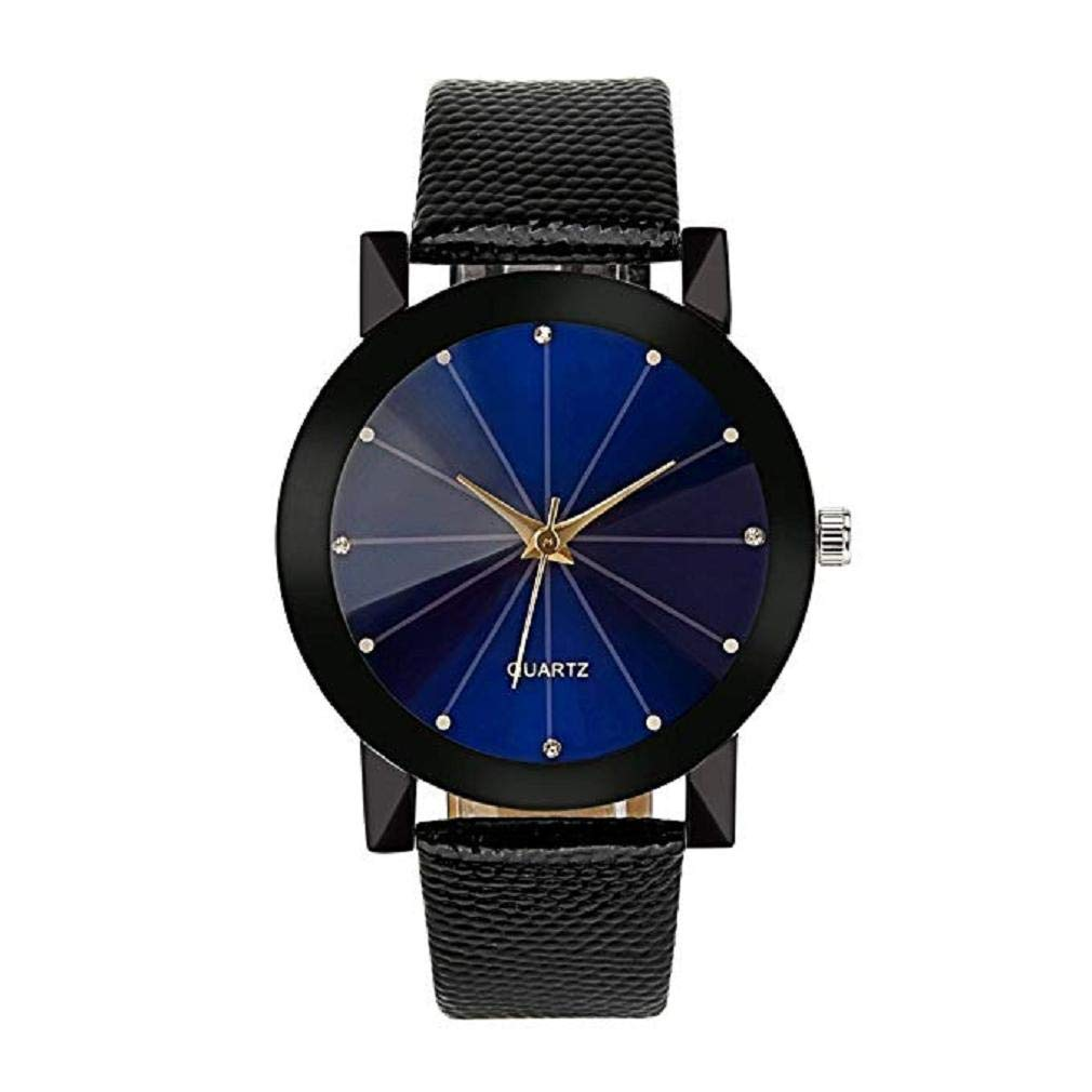 Womens Watches, Windoson Women's Ladies Teen Girls Fashion Dress Wrist Quartz Watch Black/Blue FaceDial Leather Band Casual Simple Analog Quartz Watches Classic Wristwatch Clearance (C)