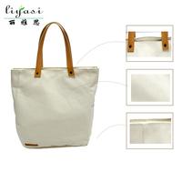 Custom Blank Leather Handle 12 oz Canvas Tote bag Ladies Shoulder Bags