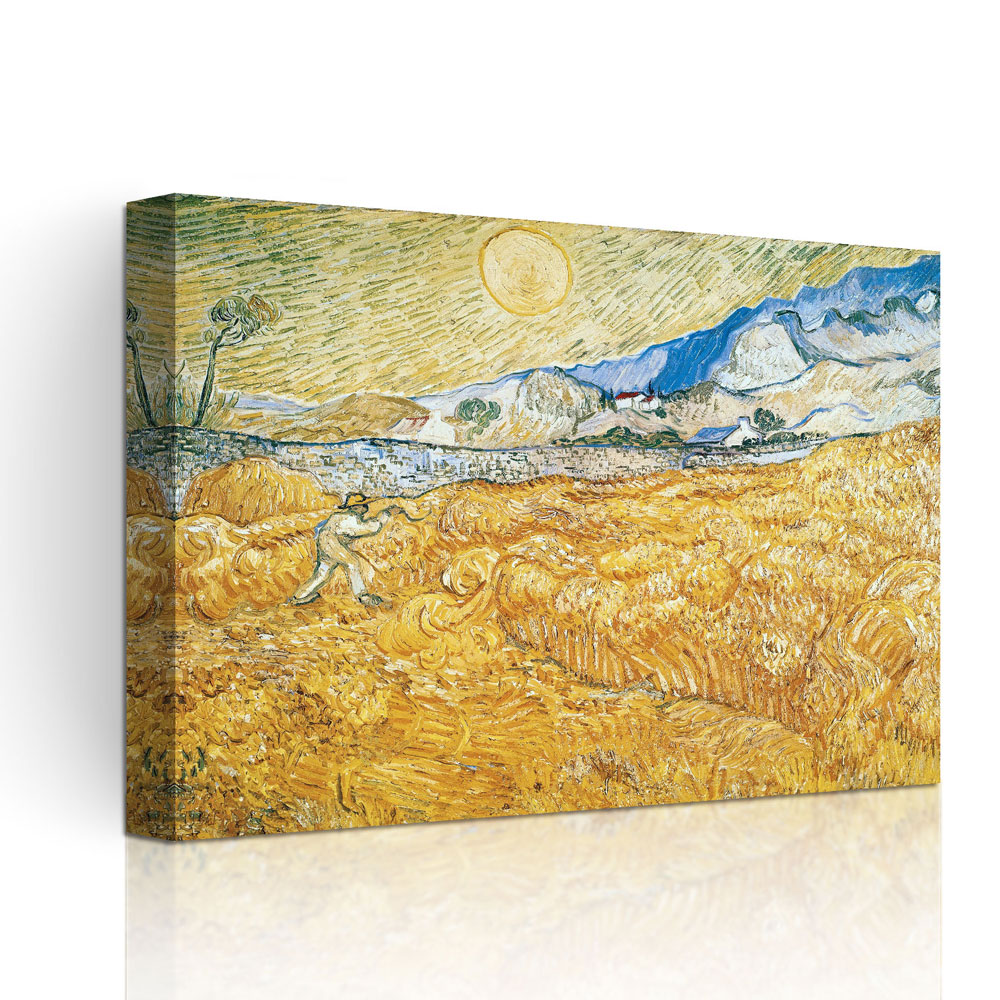 Printing oil painting Wheat Field with Reaper and Sun by Van Gogh