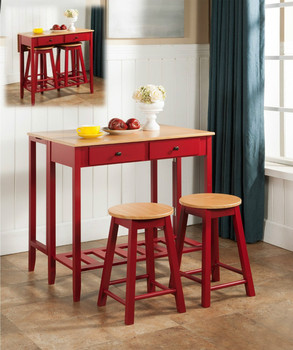 6d5b109d1ef Counter Height Breakfast Bar Set Wood Drop Down Table   2 Stools ...