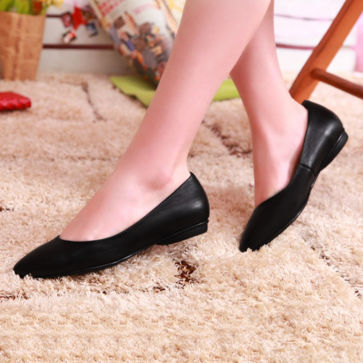 New Design Fashion Ladies Summer Flat Heel Casual Pumps Genuine Leather Women Dress Shoes
