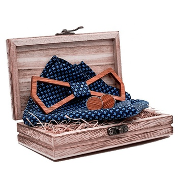 Bulk customized logo 100% pure wood men's gift bow tie