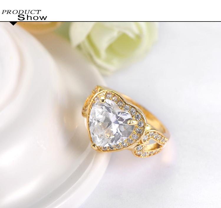 18k Gold Cut Imitation Diamond Cock Ring Anillos De promise Cri0027 c Bu