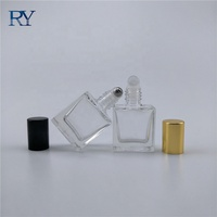Transparent Color Square Stainless Steel Roll on Perfume Bottles 10ml 15ml 30ml Thick Glass Roller Ball Bottles