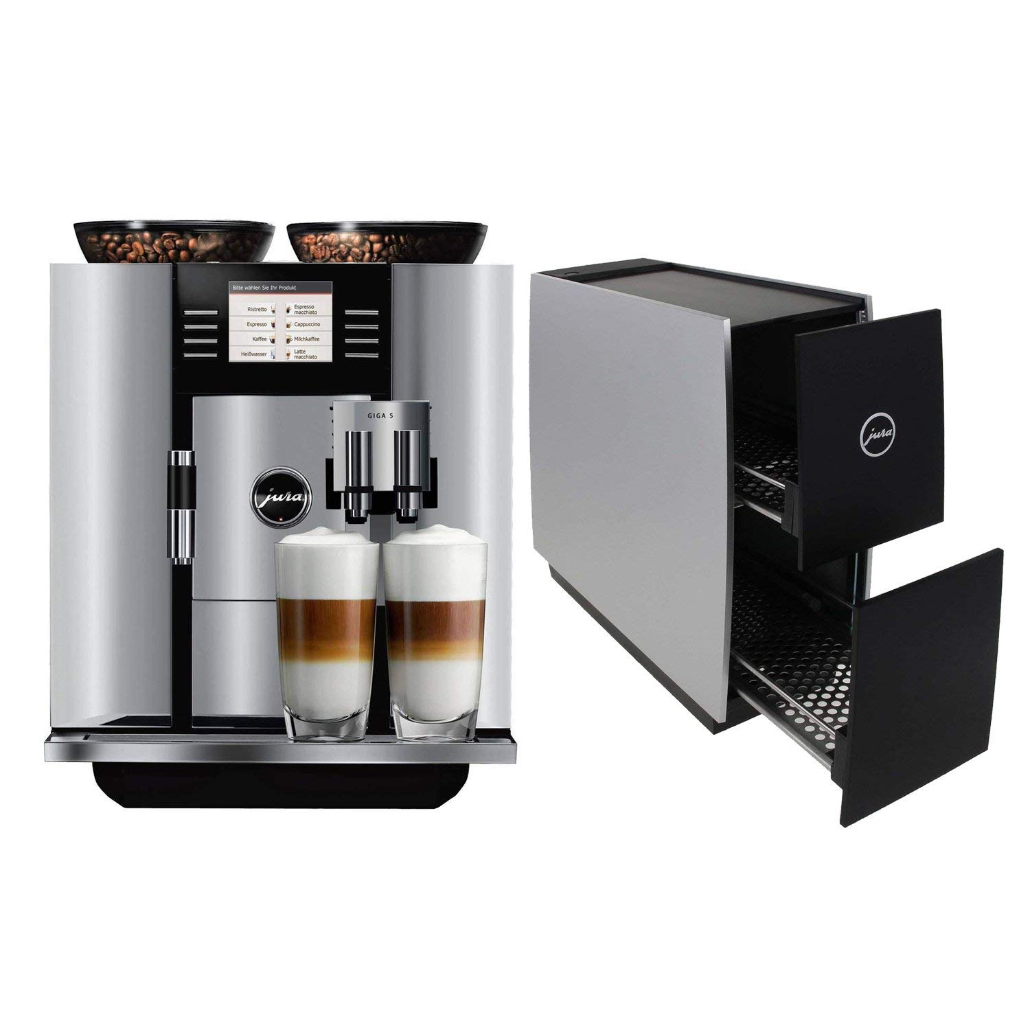 Jura 13623 Giga 5 Automatic Coffee Machine, Aluminum with Jura 72229 Cup Warmer, Black