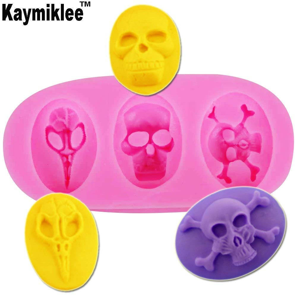 F1192 Hot Selling FDA 3Pcs 3 hole Halloween skull silicone resin mold cake mould polymer clay handmade soap mold NEW PRODUCT