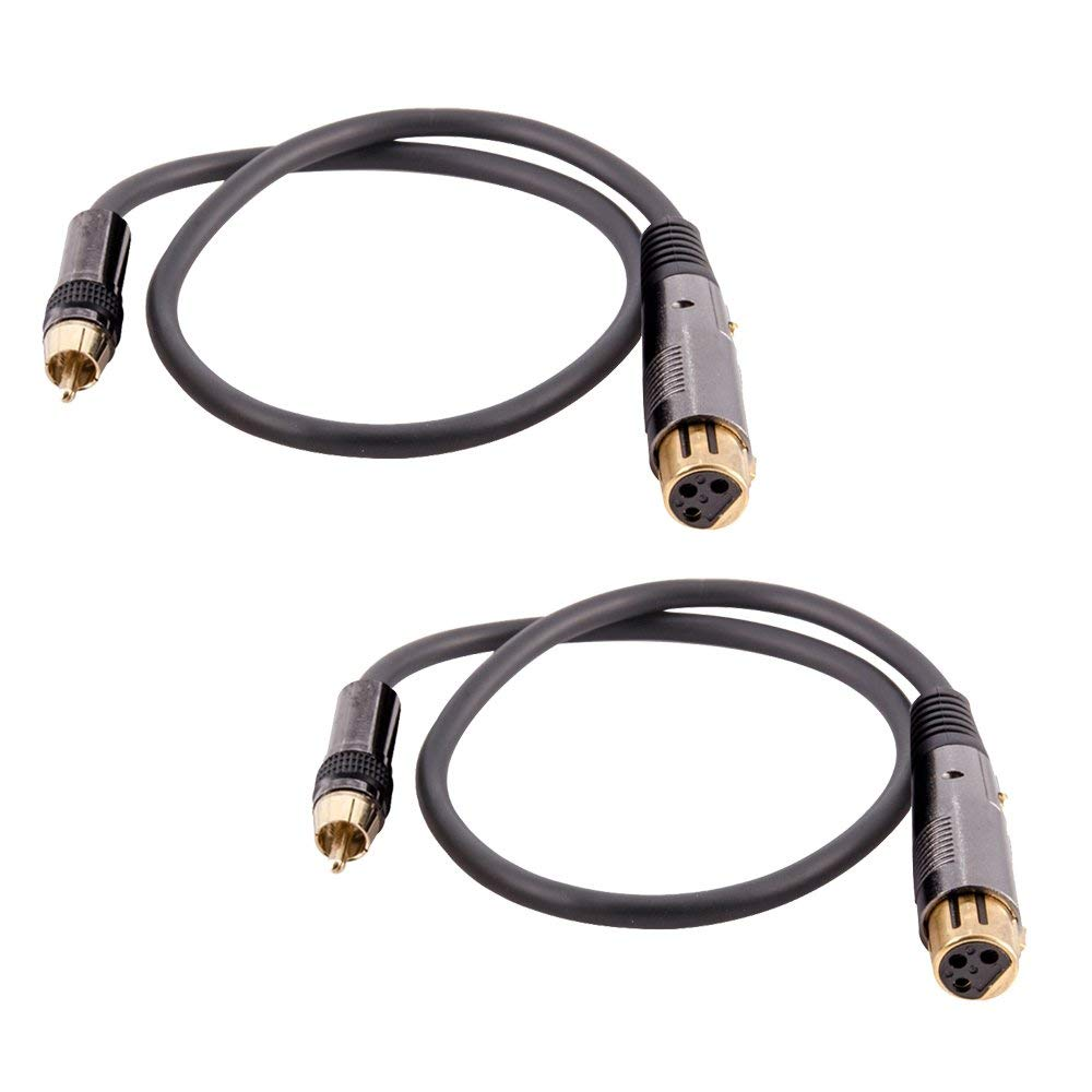 Seismic Audio - SARCXLF-2Black-2Pack - Pair of Premium 2 Foot XLR Female to RCA Male Audio Patch Cables - 16 Gauge XLRF to RCA Patch Cords