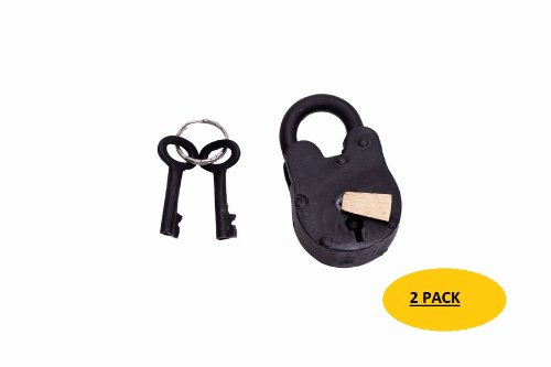 A29 Hardware 2 1/2 Inch Handmade Cast Iron Antique Padlock with 2 keys, Black Finish, Set of 2